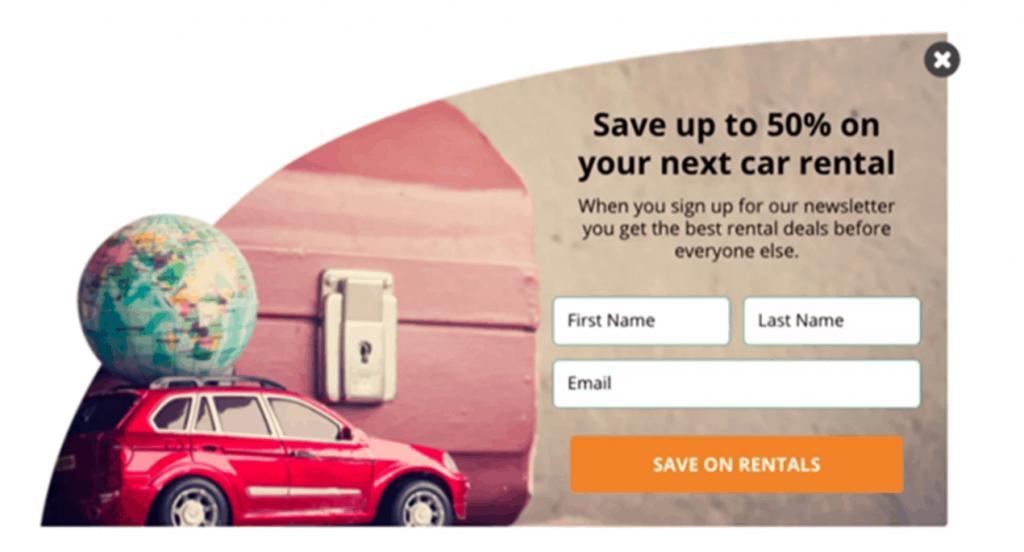 car rental visuals, image example