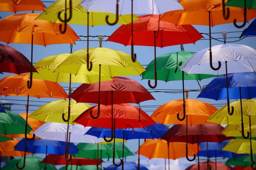 tetrachromacy, colorful umbrellas example