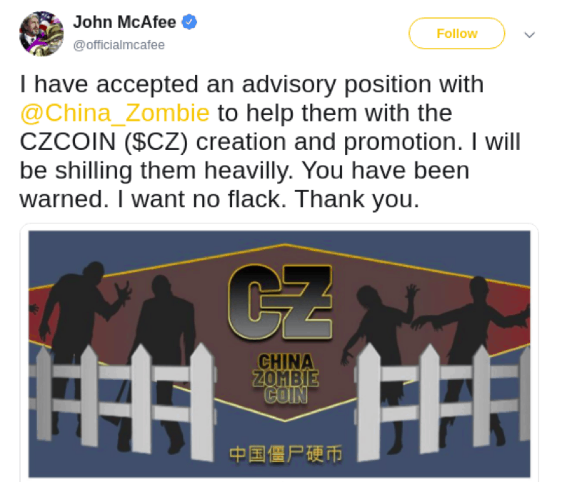 John McAfee tweet