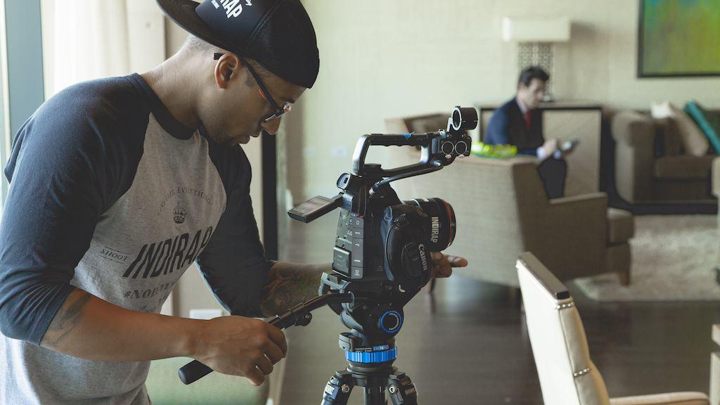 A man shooting a video