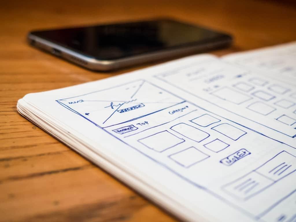 website design on paper