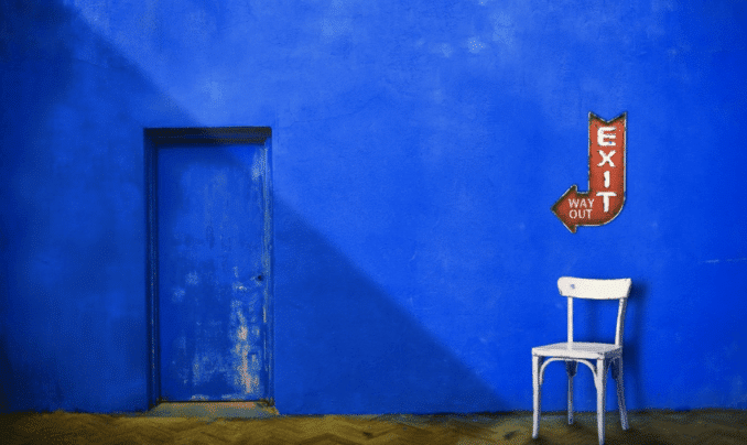 white chair and blue background