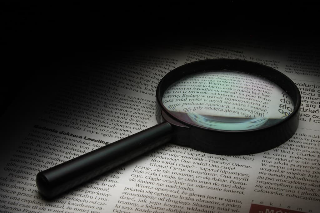 magnifier on a book