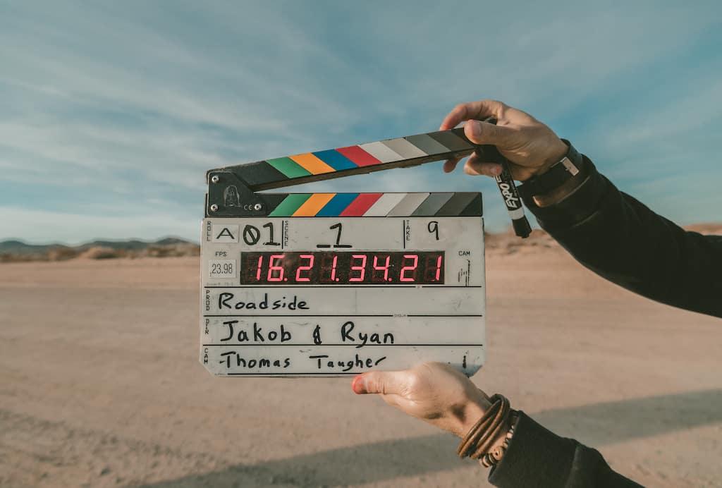 movie clapper in a desert