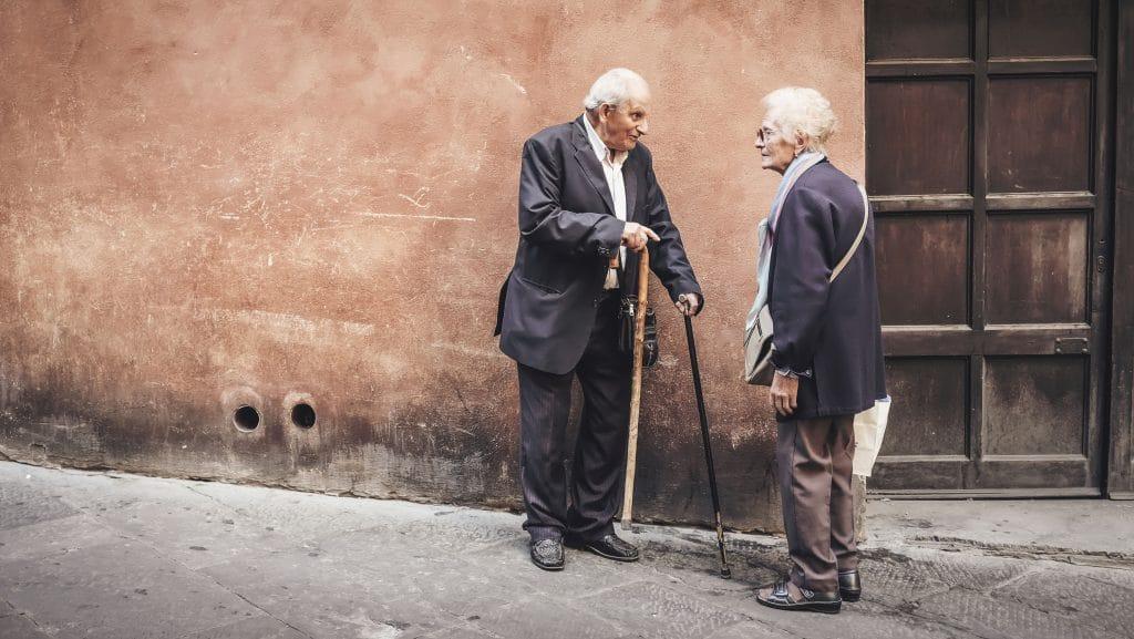 Elderly people talking