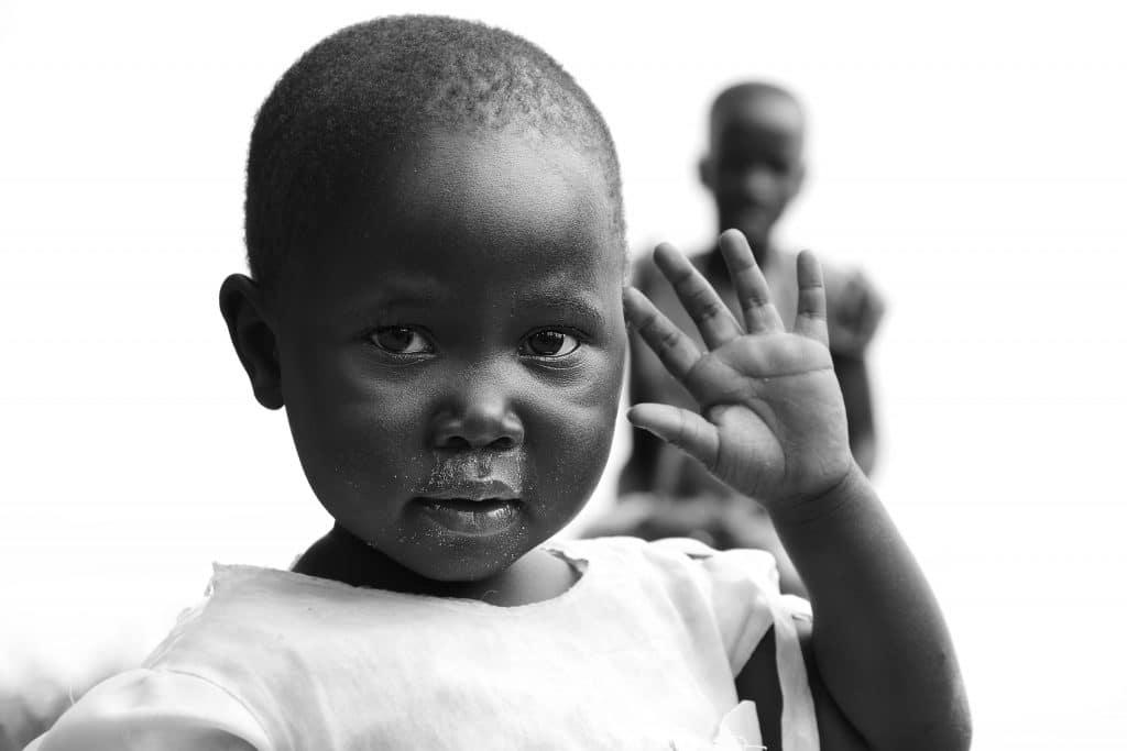 A child waving