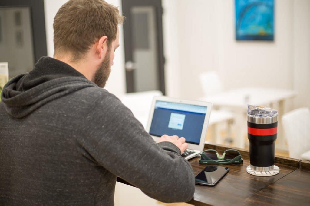 Men working computer