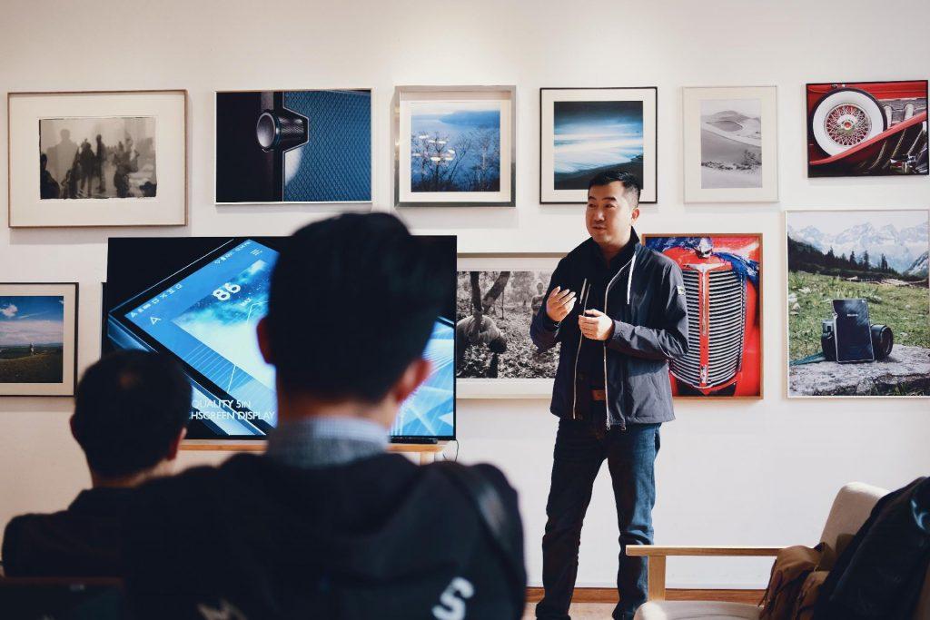 Man presenting interactive content