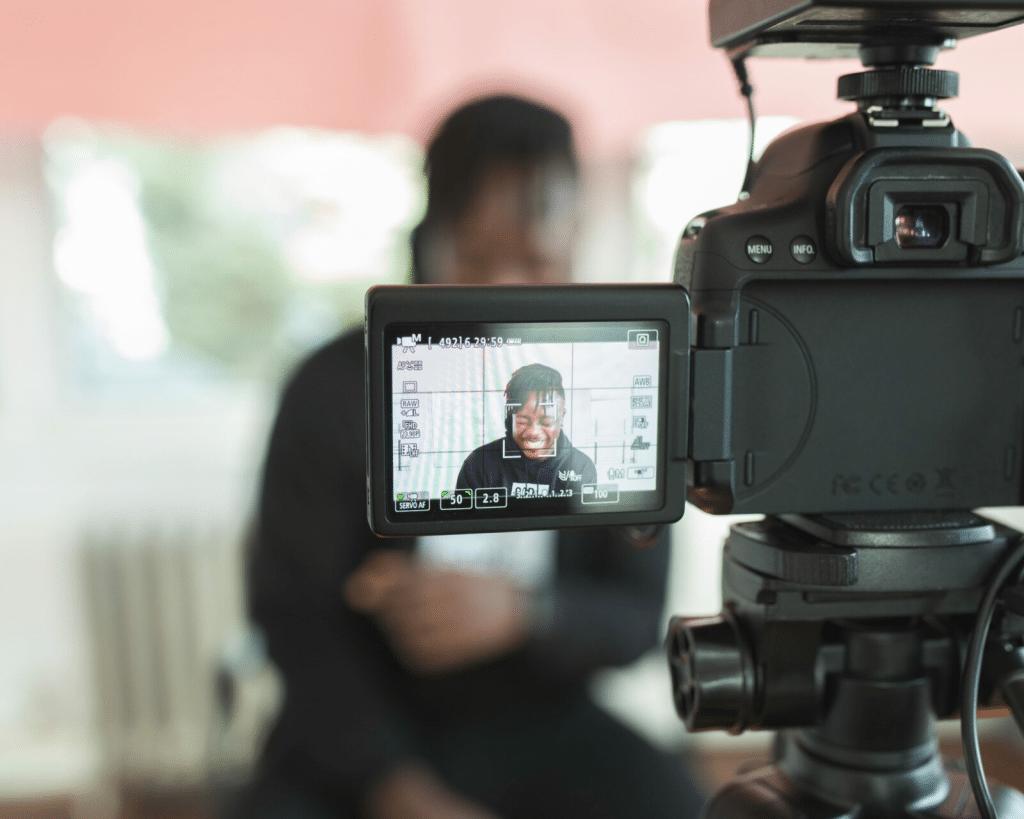 Camera recording a man