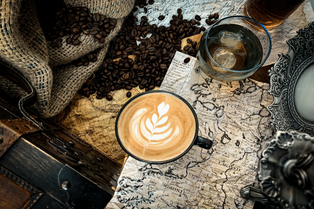 Map and coffee on a table