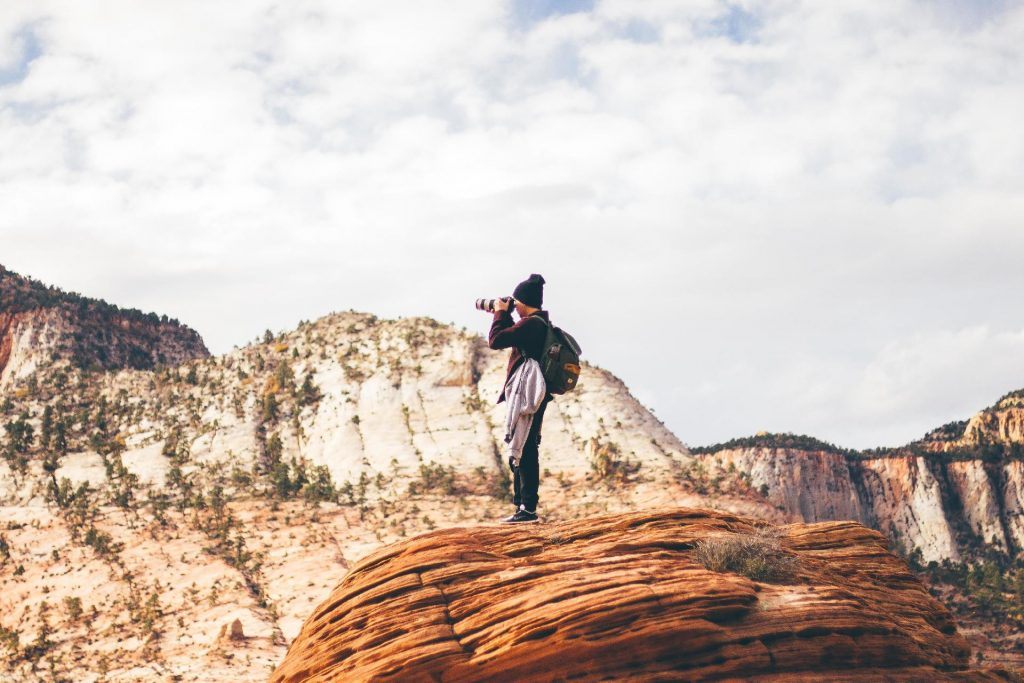 Woman on top of a hill