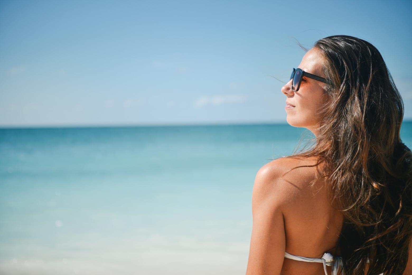 lady enjoying the beach