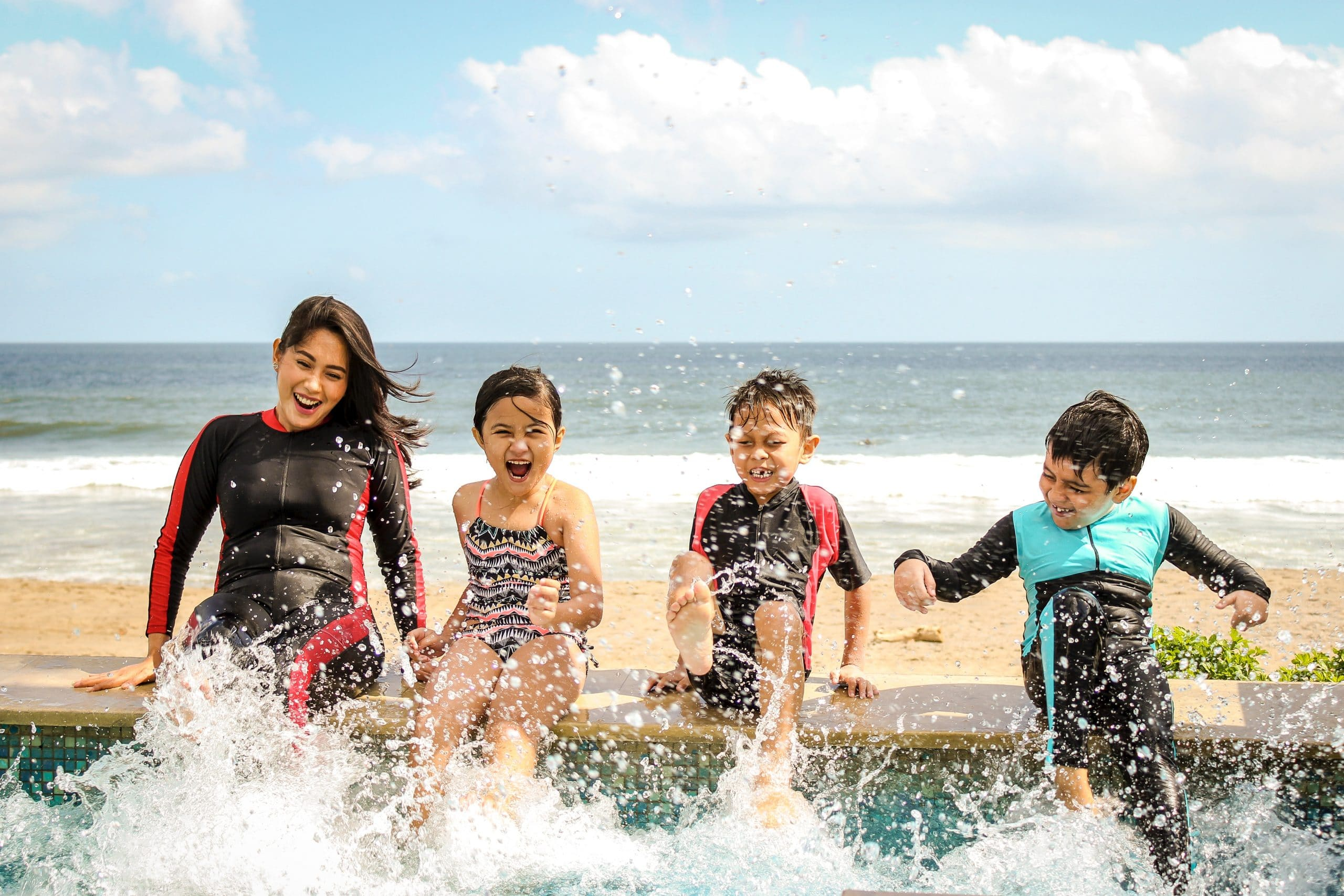 kids engaging fast in the water
