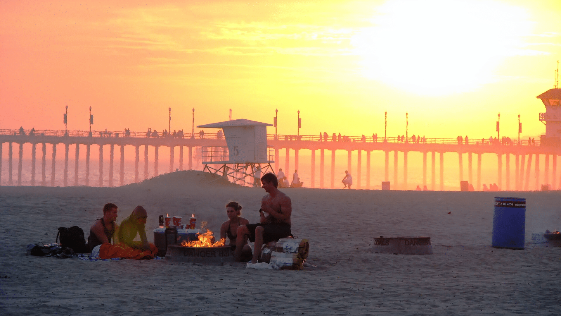 friends gathering close on the beach