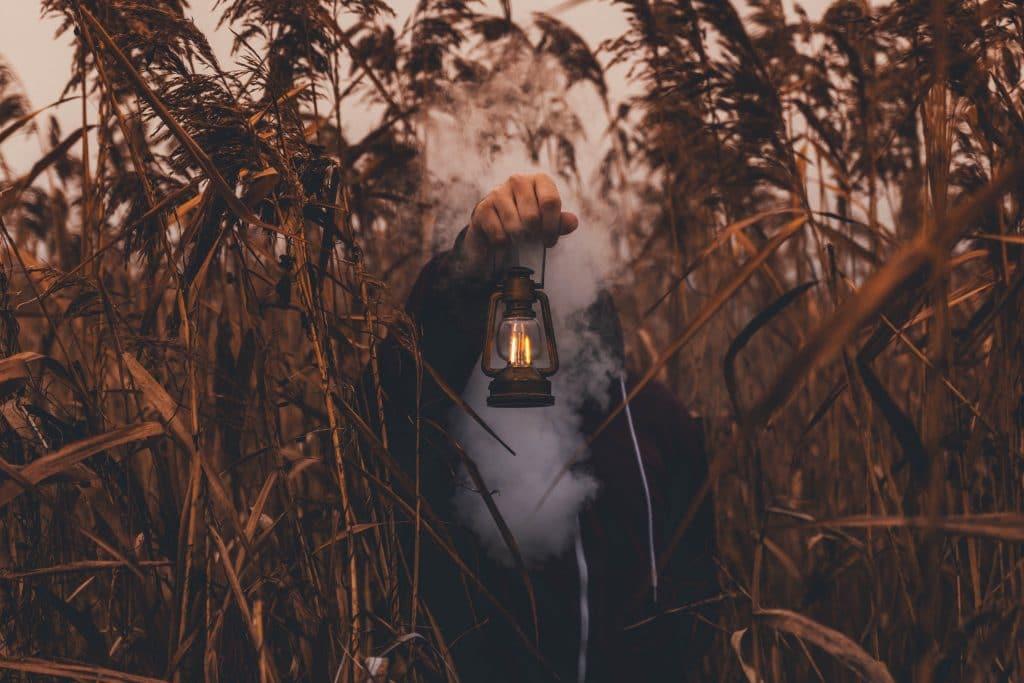 person hidden behind smoke