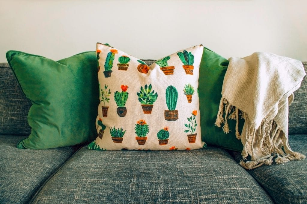 pillows on a couch