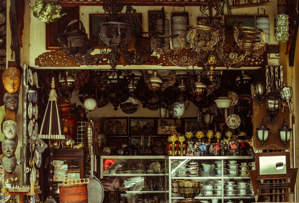 cluttered selling stall